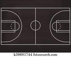 Basketball court blackboard illustration