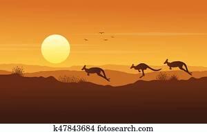 Beauty scenery kangaroo silhouette collection