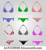 bikini, badeanzug, sammlung, eps10
