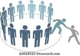 helfer, hilft, spezi, zusammenfuehren, menschengruppe, mitglieder, firma