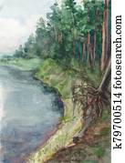 Watercolor landscape. The majestic northern expanse of the mighty river flowing among the spruce forest