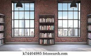 Bookshelves, Loft style interior, concrete floor with two big windows