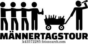 Fathers day tour with handcart and beer german