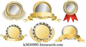 Gold and silver award ribbons