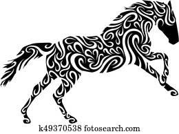 stammes-, pferd
