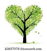 valentine, tree,, love,, blatt, von, herzen
