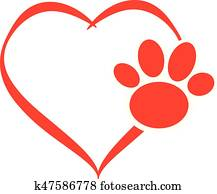 Hearts with dog paw isolated on white background