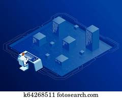 Isometric server room in datacenter. Administrator Monitors Work of Artificial Intelligence. Professional IT Engineers Working in System Control Center.