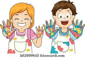 Kids Hand Paint Illustration
