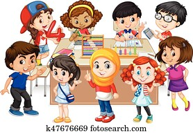 Many kids learning math in classroom
