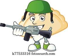 Pierogi carton character in an Army uniform with machine gun