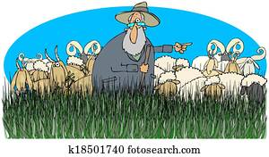 Shepherd with sheep and goats
