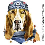 Watercolor portrait of basset hound wearing biker bandana