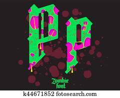 Halloween font  Ancient alphabet  Blood Gothic letters  Vintage ABC