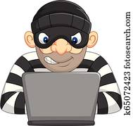 Hacker Thief in mask stealing personal information from computer