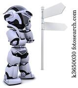 robot at a signpost