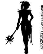 Wizard warrior woman silhouette