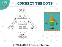 Connect the dots kids mini game vector illustration. Preschool children education activity