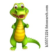 cute Aligator cartoon character with assining thums up