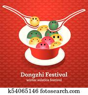 Dong Zhi Chinese Winter Solstice Festiva. Tangyuan (Sweet Dumplings) in Plate with Soup.