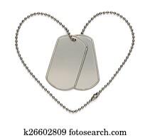 Military Heart Dog Tags