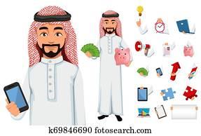 Modern Arab business man cartoon character