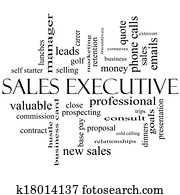 Sales Executive Word Cloud Concept in black and white