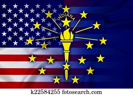 Waving USA and Indiana State Flag