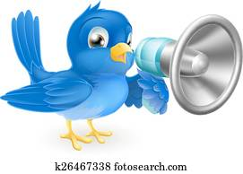 Bluebird with megaphone