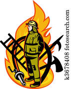 Firefighter with axe ladder, spear, hook and fire hose.