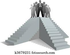 mitarbeitergruppe, führer, leute, treppe, to, erfolg