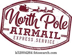 North Pole Airmail Santa Letter Stamp