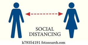 Vector illustration of a social distance concept.