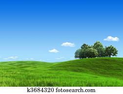 Nature collection - Green meadow group of trees template