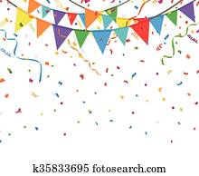 Party flags with confetti