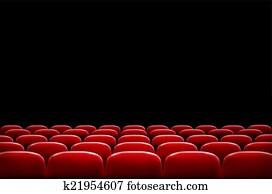 reihen, von, rot, kino, oder, theater setzt, vor, schwarz, schirm, witz