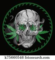 Skull smokes marijuana on a black background. Vector graphics.