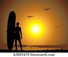 summer, vacations,, surfen