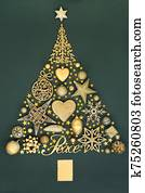 Abstract Christmas Tree with Gold Baubles