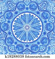 Watercolor gzhel. Doily round lace pattern, circle background with many details, looks like crocheting handmade lace, lacy arabesque designs. Orient traditional ornament. Oriental motif