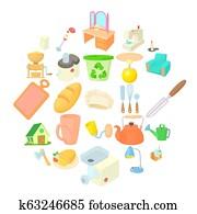 Homeliness icons set, cartoon style