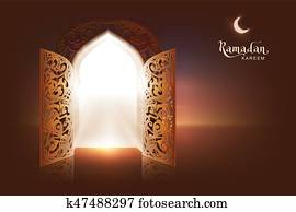 Ramadan Kareem lettering text greeting card