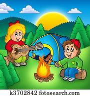 Two camping kids