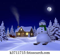 A christmas themed snow scene showing Snowman, Cabin and snow sleigh at night