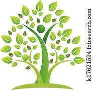 baum, gemeinschaftsarbeit, leute, symbol, logo