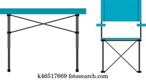 camping, tisch, und, stuhl
