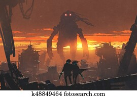 couple with gun looking at giant robot