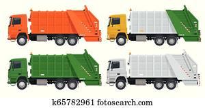flache, muell, truck., muell, mülltrennung, und, utilization, equipment., stadt, verschwendung, mülltrennung, begriff, mit, muell, truck.