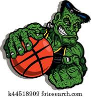 frankenstein's monster playing basketball