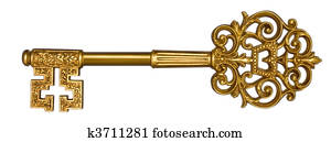 Gold Master Key on White